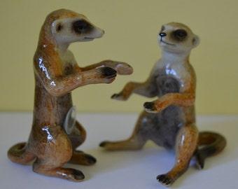 Meerkat Salt and Pepper Shaker Hand Painted Meerkat Cruet