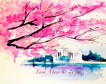 Cherry Blossoms in Washington DC Watercolor - Travel Illustration by Lana Moes - Wanderlust Collection - Romantic Bliss