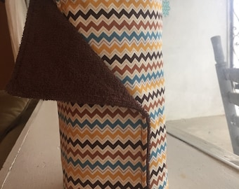 Ready to ship brown, blue &yellow chevron Set of 12 Unpaper Towels / Cloth Paper Towels /Reusable Paper Towels with Snaps (11 i