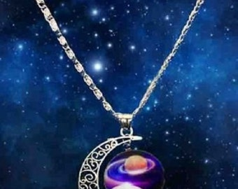 Galaxy Universe Crescent Moon Glass Cabochon Pendant Necklace