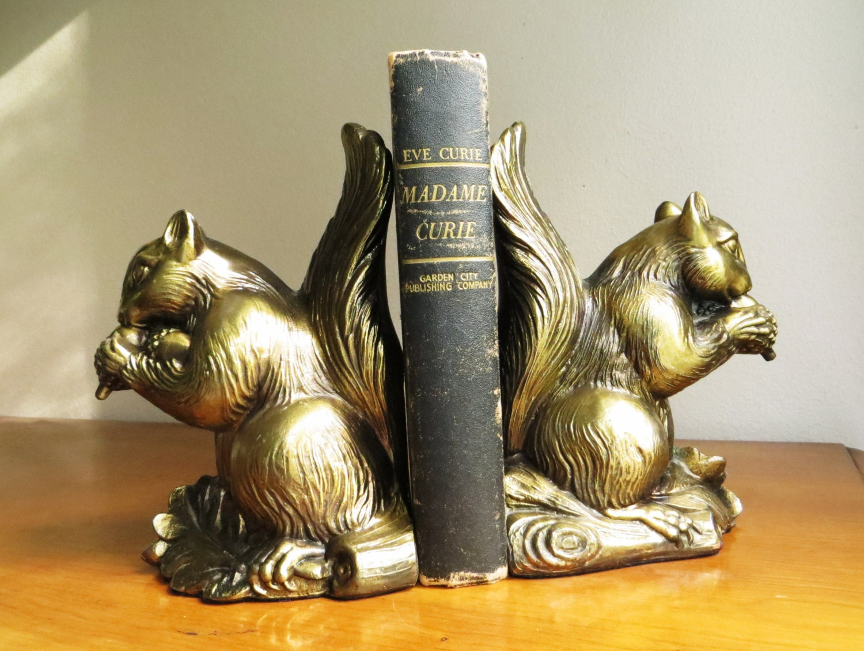 Vintage squirrel bookends dark brass or bronze color metal - Antique brass bookends ...