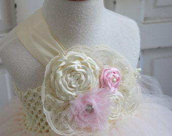 Blush Flower girl dress, Lace Flower Girl tutu dresses, Flower Girl Dress, Birthday Tutu Dress