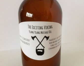 Sensual Massage Oil. Massage therapy gift for her. The Exciting Viking. Made with ylang ylang, neroli and cinnamon leaf.