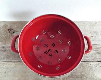 FRENCH enamel colander - vintage big red kichten strainer, kitchenware, strawberry red basket, fruit holder, enamelware, farm house decor
