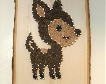 Nursery Woodlands Animal Deer String Art on Tree Bark Plaque