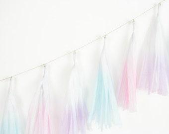 Dip Dye Tassel Garland - Cotton Candy