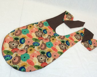 Cross Body Bag--Asian Print Fabric Bag--Hip Sling Bag--Adjustable Strap Shoulder Bag--Diaper Bag--Book Bag--Asian Parasols Yellow/Peach/Teal