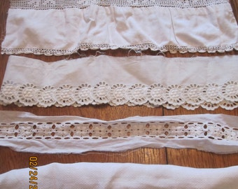 Lot of Vintage Lace Trims for Upcycling Crochet Tatting