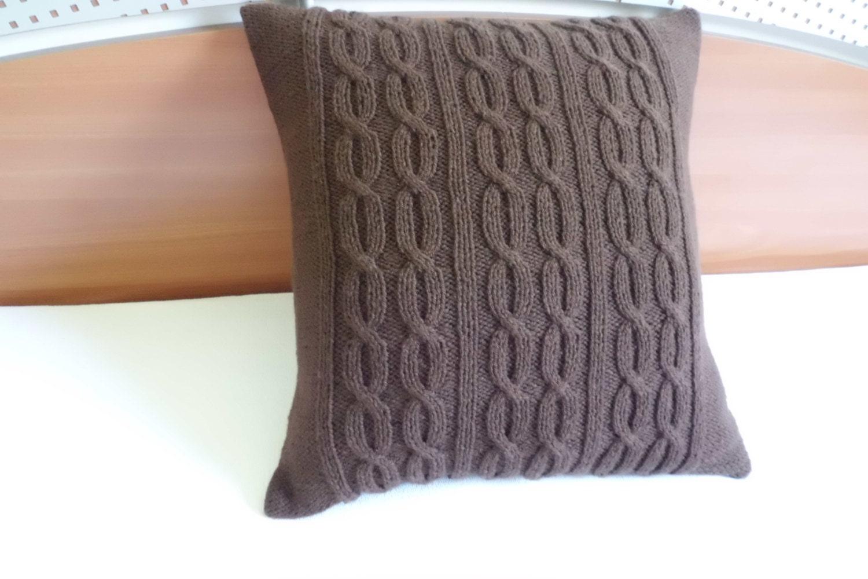Chocolate Brown Hand Knit Pillow Throw Pillow Decorative