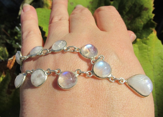 adorable rainbow moonstone necklace 925 silver overlay prom