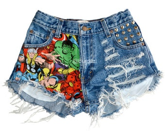 Half Marvel Half Distressed & Studded High Waisted Shorts