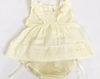 Vintage Baby Dress & Diaper Cover Set // Yellow Ruffles