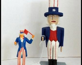 Carved Wood Uncle Sam Figures