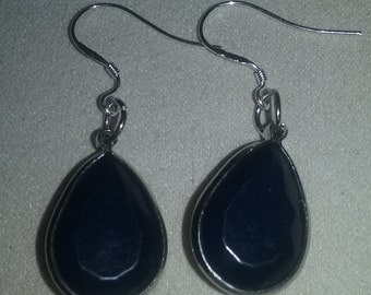 Handmade Dark Navy Blue Faceted Teardrop Dangle Earrings Jewelry Accessory Gift  SALE