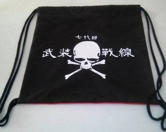 Crows zero Skull The Front of Armament manga inspired drawstring backpack  Cotton canvas 35x35cm