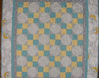 Baby Quilt, Baby Girl Gray Teal Yellow Quilt, Girl Quilt, Baby Girl Blanket, Crib Quilt, Stroller Quilt, Crib Blanket,  Quiltsy Handmade