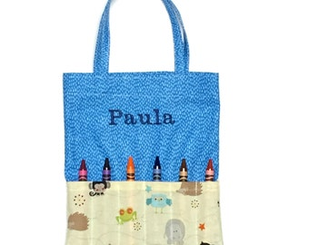 Personalized Crayon Holder - Embroidery Crayon Holder - Personalized Crayon Tote - Name on Crayon Tote