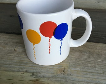 retro balloon mug red blue yellow  waechtersbach w germany collectible ceramic