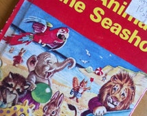 20% Off All Books Fun Tiny Vintage Child Book Anthro Animals Seashore Racy Helps