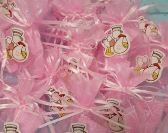 """24 favors 3"""" by 4"""" baby shower pouch with a mint wrapped candy"""