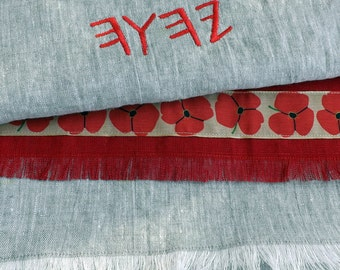 Paleo and Pictograph Hebrew Natural and Red 100% Linen Shawl with Red Poppy Flower Ribbon and Natural Fray Trim