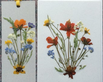 Set of 2 Pressed Flower Bookmarks and 2 Cards made with beautiful Montana grown flowers.