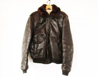 Flight Jacket - Dark Brown Leather - Size 44L - Mfg. by Schott, NYC - Lambswool Collar and Lining - 1978 - Great Wear - Motorcycle/Bomber
