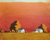 Original Painting - Red Barn Farm - Contemporary Painting - 10 x 10 Inches
