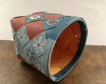 Vintage Swedish handpainted basket Braided planter Flowerpot Rustic Cottage home decor