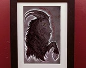 Black Phillip archival Print in 4 by 6 Inch Black Frame