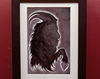 Black Phillip archival Print in 4 by 6 Inch Black Frame