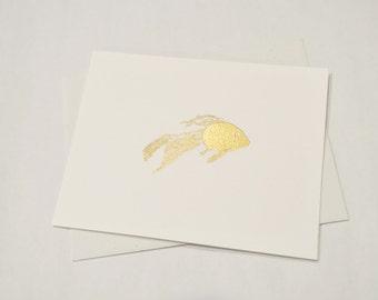 Embossed Goldfish Cards, Blank - Handmade Stamped Card