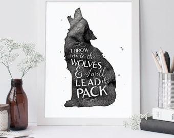 Throw Me To The Wolves, Typographic Print, Rustic Art, Giclee Print, Wolf Print, Southwestern Decor, Inspirational Typography, Wall Quote