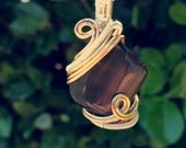 Wire wrapped Tigers Eye pendant