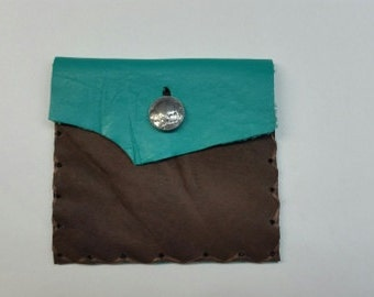 Rustic Leather Pouch, Brown Leather Pouch, Accessory Pouch, Southwestern Jewelry Pouch