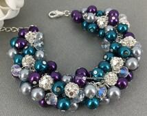 Dark Purple Grey and Teal Bracelet, Pearl Cluster Bracelet, Bridesmaid Gift, Bridesmaid Cluster Bracelet, Peacock Theme Wedding Wedding 2016
