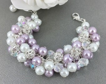 Lilac and White Pearl Cluster Bracelet, Rhinestones Lilac Bracelet, Bridesmaids Gifts, Chunky Bracelet, Purple Bracelet, White and Purple