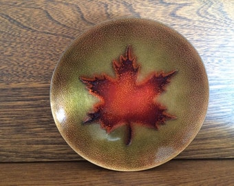 JULES PERRIER QUEBEC Canada - Plate Dish - Signed by Artist - Enamel on Copper - Maple Leaf
