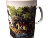 Dunoon Fine Bone China Coffee Mug From England,  Tally Ho Fox Hunters, Designed By Thomas Bewick, Gift For Him