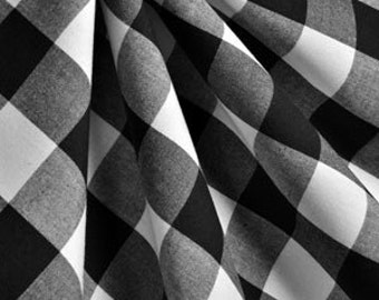 Black and white  Buffalo checked curtains