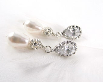 Pearl Drop Earrings, White or Ivory, Drop Earrings, Bridal Collection, Crystal Wedding Jewelry