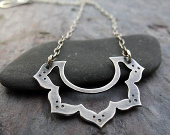 Lotus Choker // handmade sterling silver lotus flower on delicate chain // metal smith zen jewelry (3850)