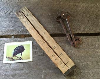 Ruler wooden,  folding ruler,  vintage rustic tool, patina, boxwood Rabone, man cave