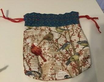 Bird fabric Drawstring Bag
