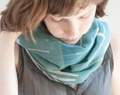 SALE Aqua Blue Cotton Gauze Scarf, Hand Screen Printed
