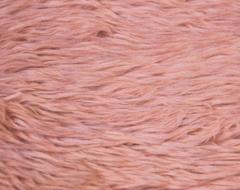 Peach Papaya Pile Luxury Shag Faux Fur Fabric by the yard for costume, throws, home furnishing, photo props - 1 Yard Style 5009