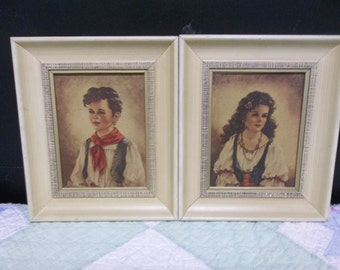 Vintage Gypsy Chiko and Elana Boy and Girl Pictures in White Wood Frames 7x6, 317S