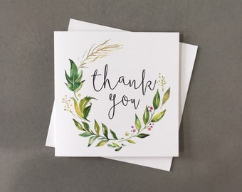 Thank you card, wedding thank you, thank you, wreath thank you card