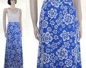 Vintage 1980s Women's Blue & White Hawaiian Skirt / Long Hostess Skirt / Patio Skirt / Blue Hawaii Skirt / Border Print Skirt