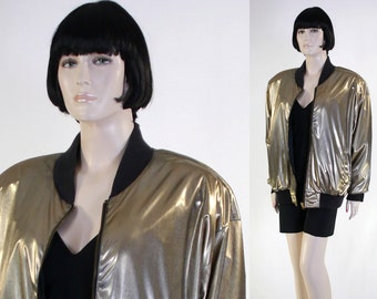 Adult Women's Gold Metallic Roller Boogie Jacket - Roller Disco Costume - Roller Skating - Gold Disco Bomber Jacket - Size Medium